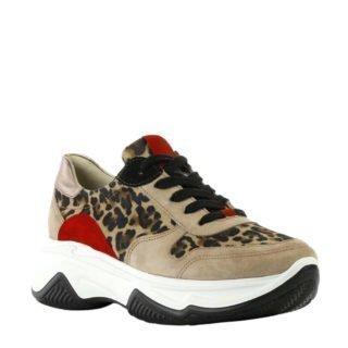 Paul Green suède sneakers met panterprint (bruin)