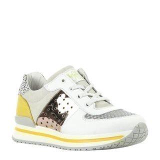Develab leren sneaker wit/geel (wit)