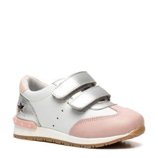 Groot leren sneakers zilver/roze (zilver)