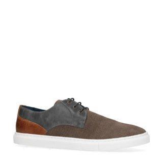 Manfield leren sneakers bruin/grijs (bruin)