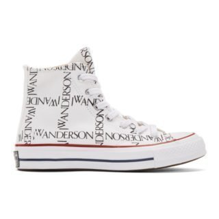 JW Anderson White Converse Edition Grid Logo Sneakers