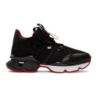 Christian Louboutin Black Red-Runner Flat Sneakers