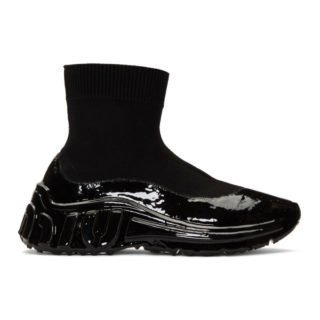 Miu Miu Black Tech Knit High-Top Sneakers