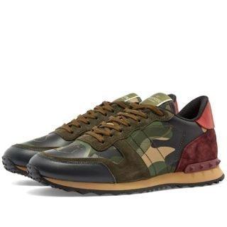 Valentino Rockrunner Camo Sneaker (Green)