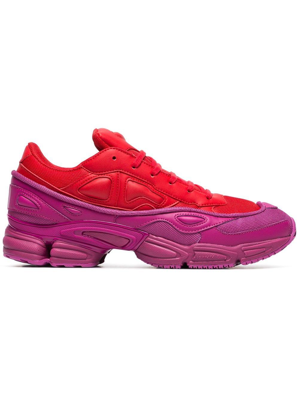 Adidas By Raf Simons Ozweego rode en roze leren sneakers - Rood