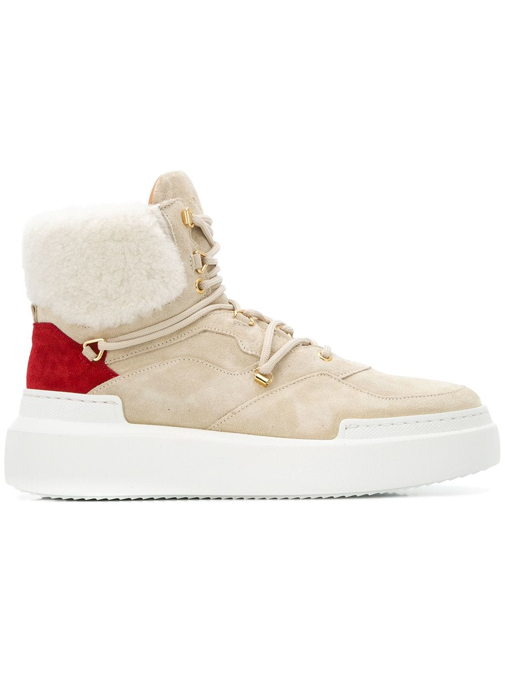 Buscemi high top lammy sneakers met manchetten - Nude
