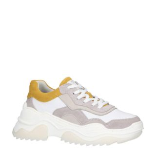 bullboxer leren chunky sneakers wit/geel (wit)