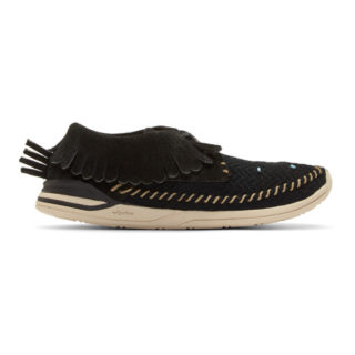 Visvim Black Maliseet Mesh Shaman-Folk Moccasin Sneakers