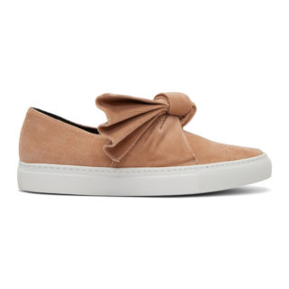 Cedric Charlier Pink Corduroy Bow Slip-On Sneakers
