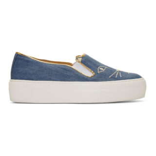 Charlotte Olympia Blue Denim Cool Cats Sneakers
