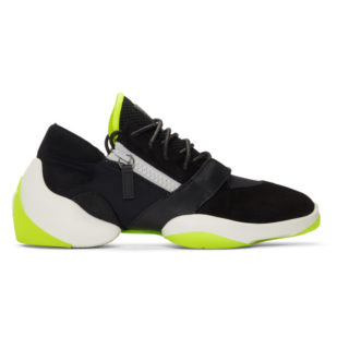 Giuseppe Zanotti Black and White Suede Light Jump Sneakers