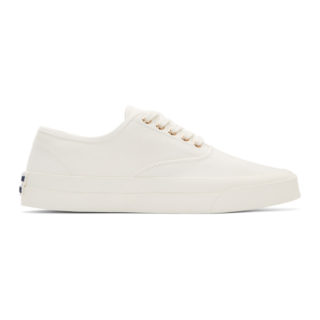 Maison Kitsune White Canvas Laced Sneakers