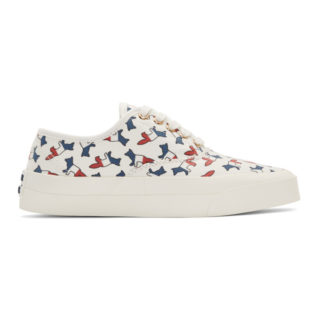 Maison Kitsune White Canvas All Over Tricolor Fox Sneakers