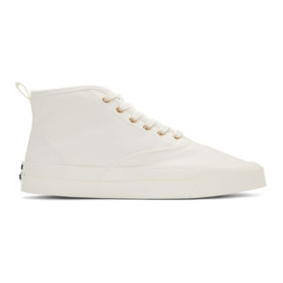 Maison Kitsune White Canvas High-Top Sneakers