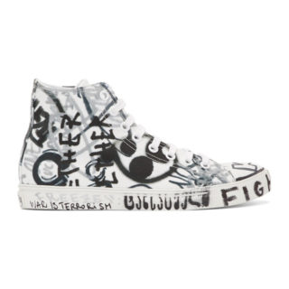 Vetements White Georgian Graffiti High-Top Sneakers