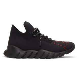 Fendi Black and Red Fiend High-Top Sneakers