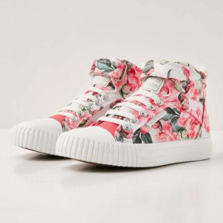British Knights dee meisjes sneakers hoog - roze bloemen - maat 33 (roze)