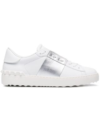 Valentino White Silver Open Rockstud Sneakers - Wit