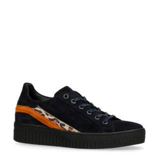 Manfield suède plateau sneakers marine (blauw)