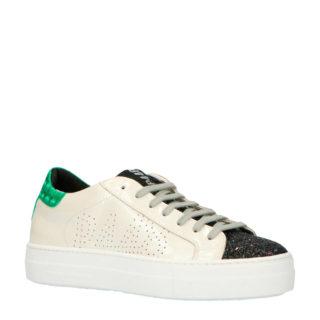 P448 THEA leren sneakers wit/zwart (beige)