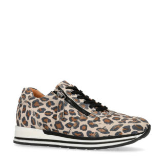 Manfield leren sneakers met panterprint (bruin)