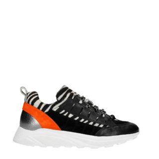 Manfield leren sneakers met zebraprint zwart (zwart)