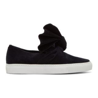 Cedric Charlier Black Corduroy Bow Slip-On Sneakers