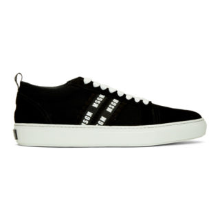 MSGM Black and White Suede Twin Logo Band Sneakers