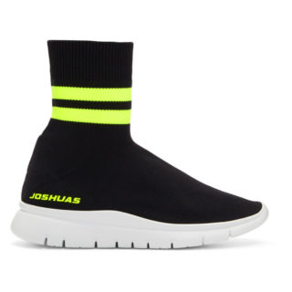 Joshua Sanders Black and Yellow Jump Neon Striped Sock Sneakers