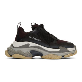 Balenciaga Black and Burgundy Triple S Sneakers