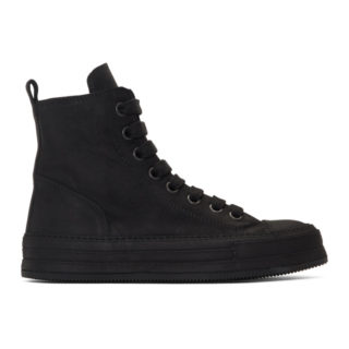 Ann Demeulemeester Black Suede High-Top Sneakers