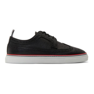 Thom Browne Black Longwing Brogue Sneakers