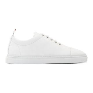 Thom Browne White Classic Toe Cap Sneakers
