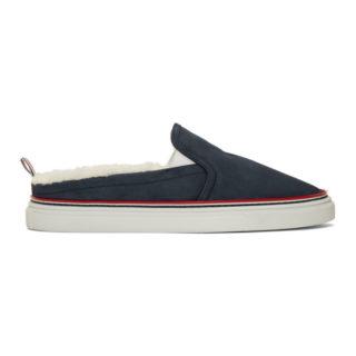 Thom Browne Navy Shearling Slip-On Sneakers