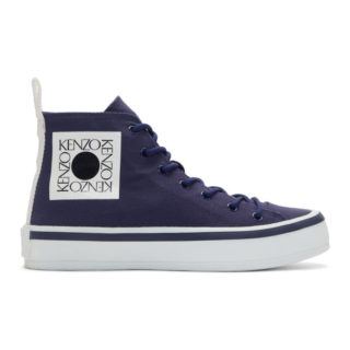 Kenzo Blue Square Logo K-Street High-Top Sneakers