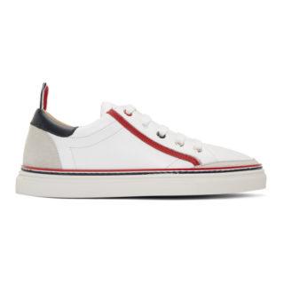 Thom Browne White Trainer Contrast Heel Sneakers
