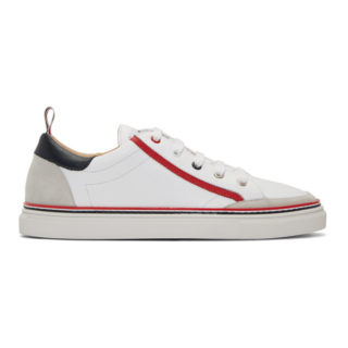 Thom Browne White Leather Cupsole Sneakers