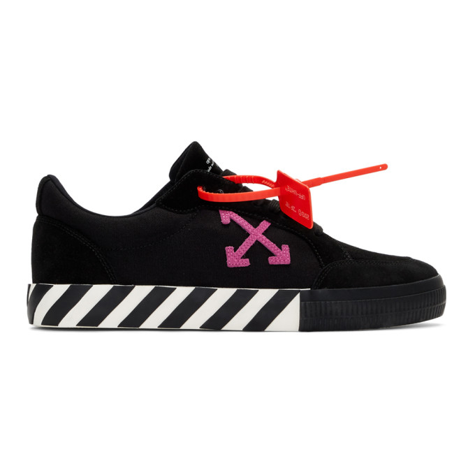 Off White Black and Pink Low Vulcanized Sneakers