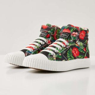 British Knights dee meisjes sneakers hoog - rode bloemen - maat 35 (rood)