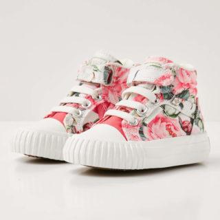 British Knights dee baby meisjes sneakers hoog - roze bloemen - maat 25 (roze)