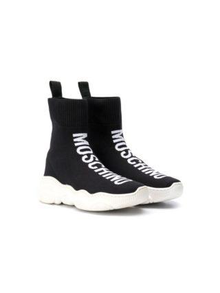 Moschino Kids Soksneakers met logo - Zwart