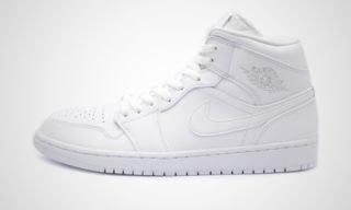 "Air Jordan 1 Mid ""Triple White"" Sneaker"