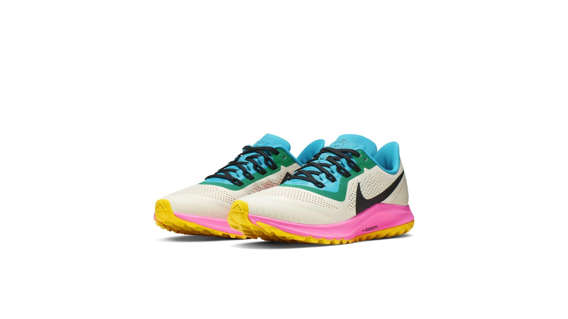 Nike Air Zoom Pegasus 36 Trail Light Orewood Brown Pink Blast Blue Lagoon  (W) (AR5676-101)