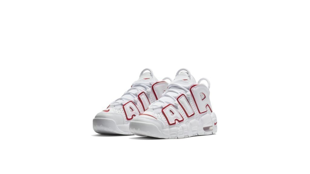 Air More Uptempo White Varsity Red Outline (GS)
