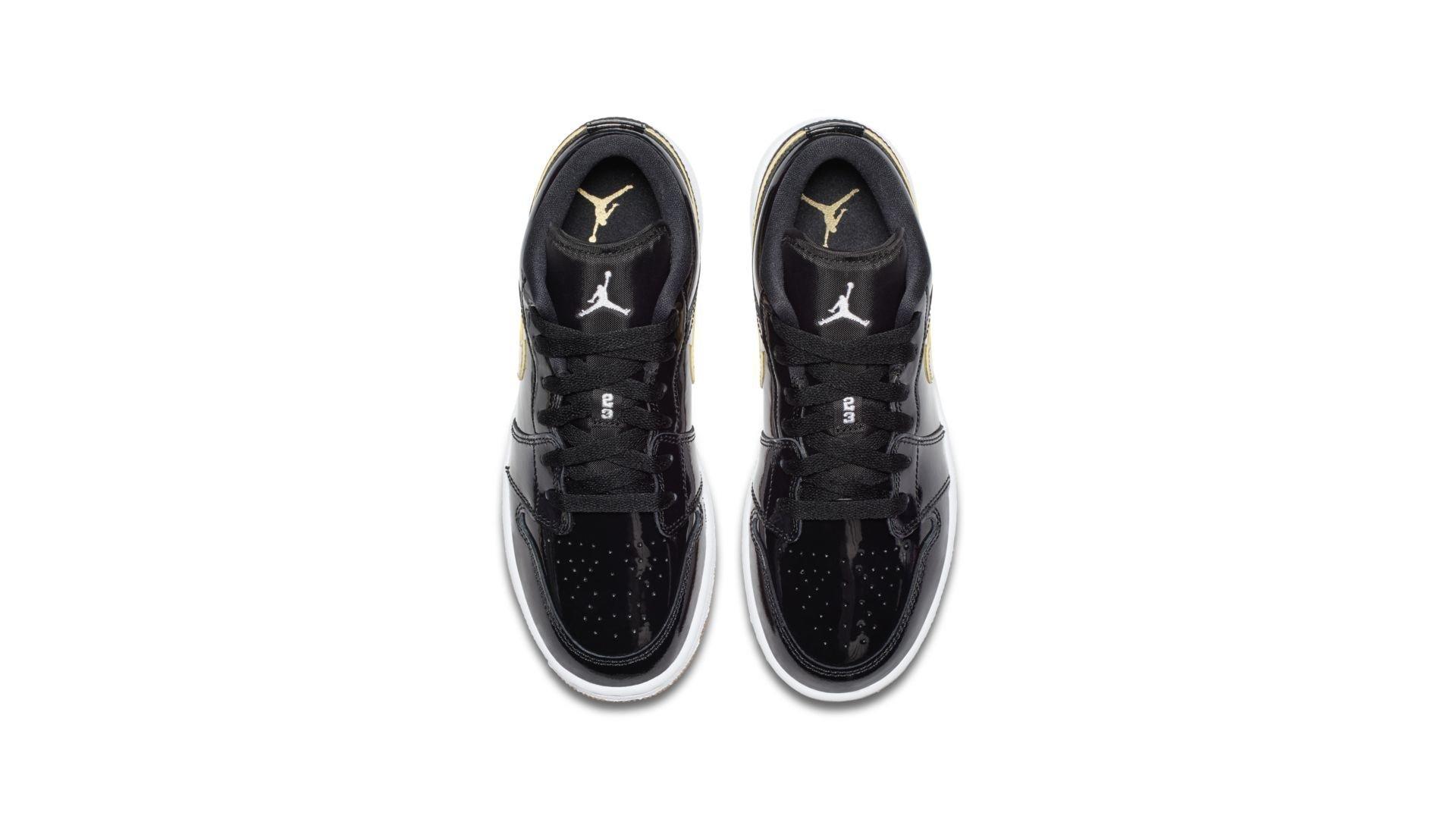 Jordan 1 Retro Low Black Gold Patent (GS) (554723-032)