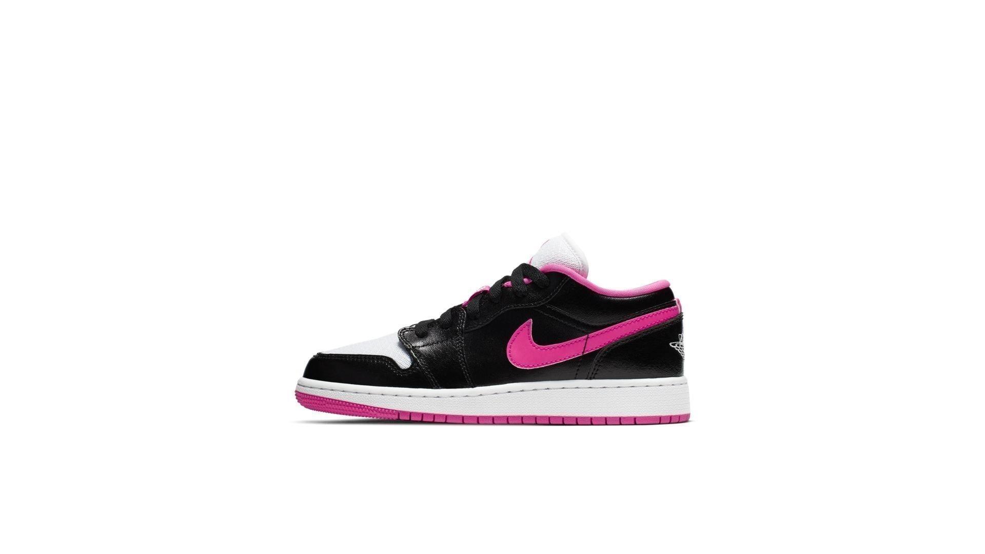 Jordan 1 Low Black White Hyper Pink (GS) (554723-061)