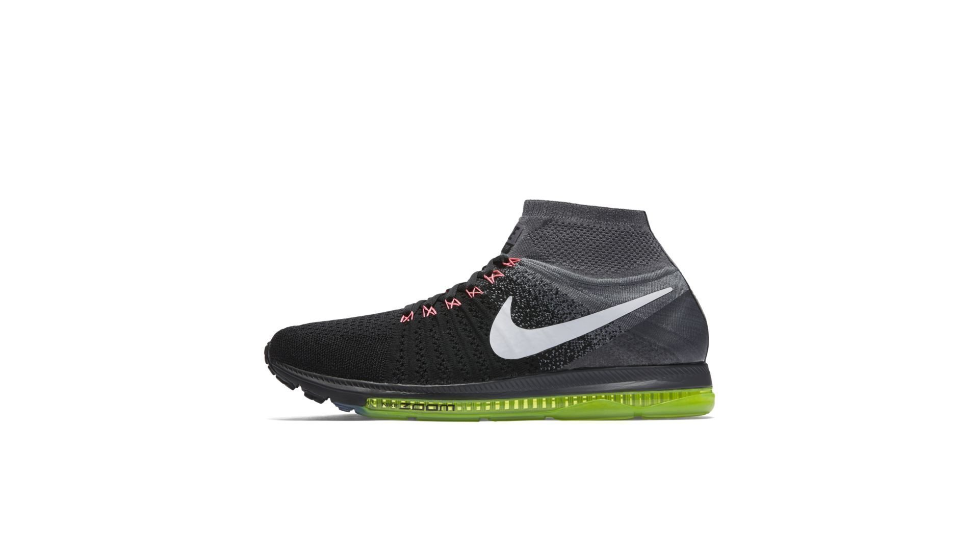 Nike Zoom All Out Flyknit Black White Volt (W) (844134-002)
