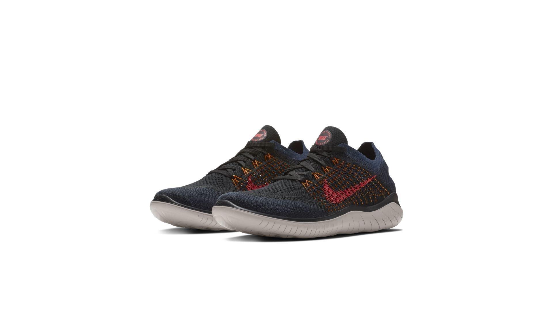 Nike Free RN Flyknit 2018 Black Flash Crimson Orange Peel (942838-068)