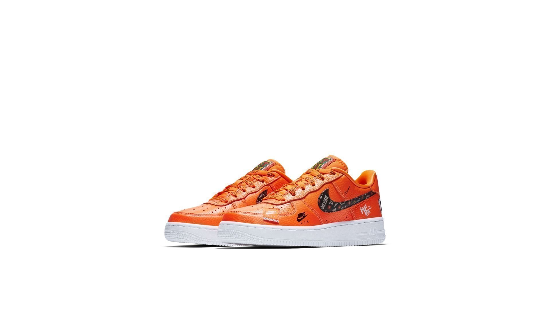 Nike Air Force 1 Low Just Do It Pack White (GS) WhiteTotal Orange Black AO3977 100