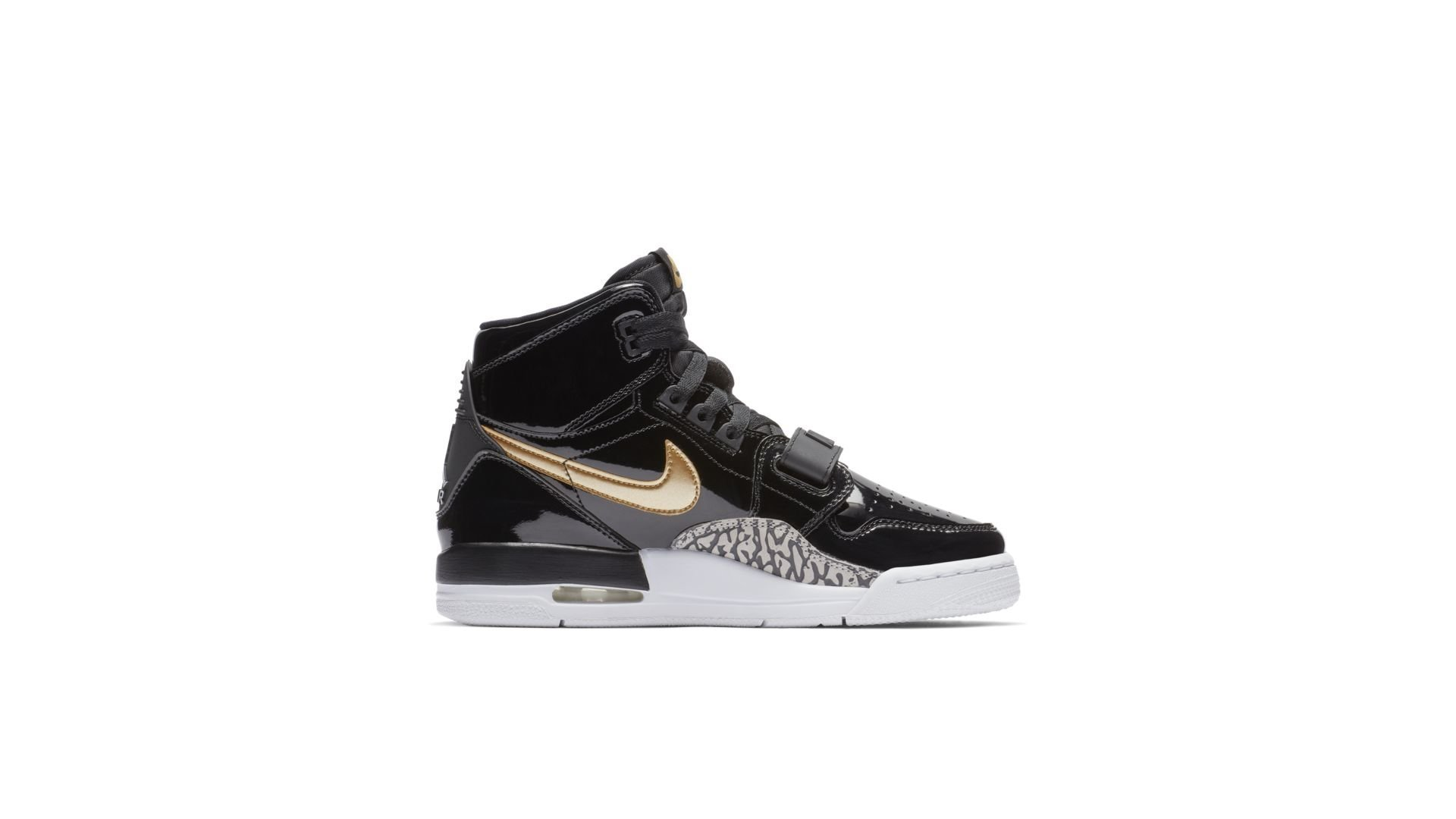 Jordan Legacy 312 Black Gold Patent (GS) (AT4040-007)